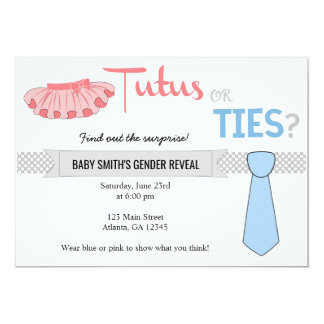 Tutus or Ties Gender Reveal Invitations