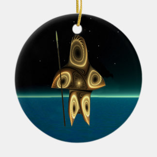 Tuvaaq - Fractal Inuit Hunter Round Ceramic Ornament