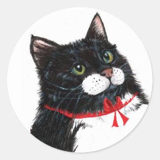 Tux Christmas Cat Classic Round Sticker