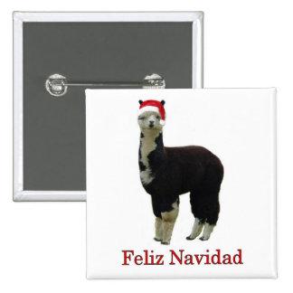 Tuxedo alpaca Feliz Navidad Pinback Button