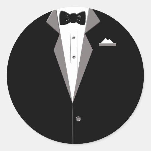 Tuxedo Art Round Stickers