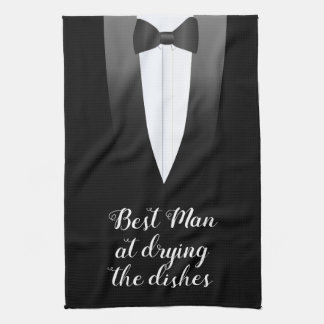 Tuxedo Best Man at Drying The Dishes Kitchen Towel