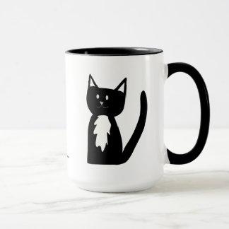 Tuxedo Black and White Cat and Ball of Yarn Mug