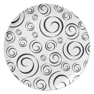 Tuxedo Black and White Swirl Pattern PT81 Plate