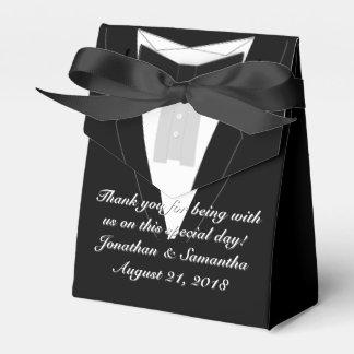 Tuxedo Black Bowtie Wedding Favor Box