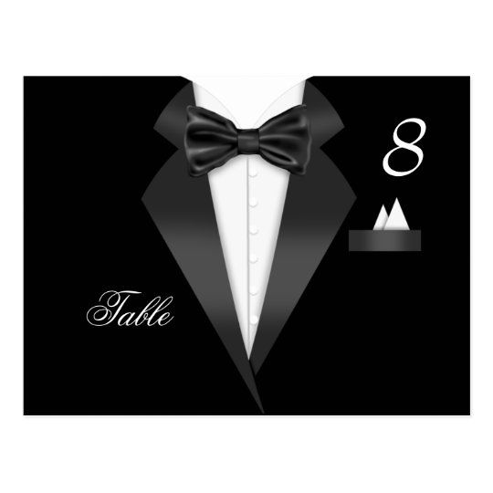 Tuxedo Black Table Number Seating Place Card
