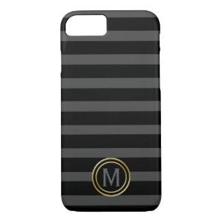 Tuxedo Black Tie & Charcoal Grey Stripe Monogram Case-Mate iPhone Case