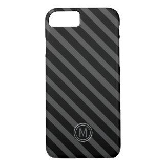 Tuxedo Black Tie & Grey Diagonal Stripe Monogram iPhone 8/7 Case
