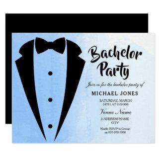 Tuxedo Blue Bow Tie Bachelor Party Invite