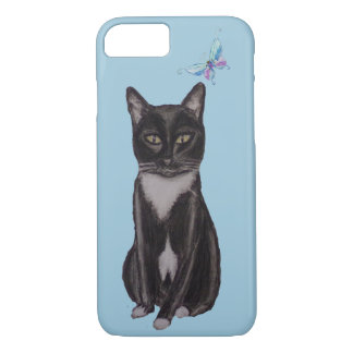 Tuxedo Cat and Butterfly iPhone 7 Case