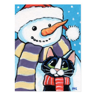 Tuxedo Cat and Carrot Nose Snowman Painting Postcard