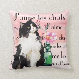 Tuxedo Cat and Flower Vase Throw Pillow