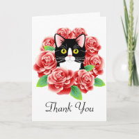 Tuxedo Cat and Roses Cute Thank You card