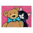 Tuxedo Cat and Teddy Bear Thank You Card
