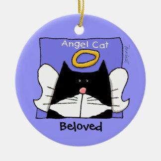 Tuxedo Cat Angel Personalize Round Ceramic Ornament