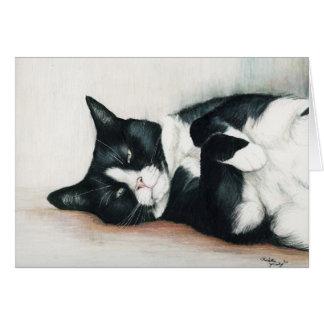 """Tuxedo Cat"" Art Greeting Card"