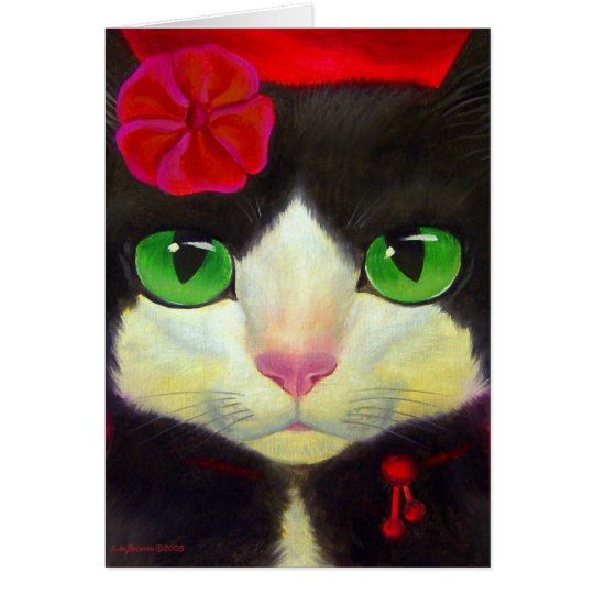 Tuxedo Cat Art - Note card