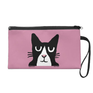 TUXEDO CAT art Wristlet Purse