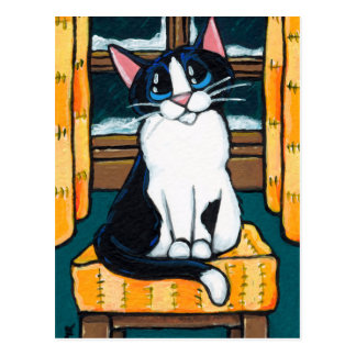 Tuxedo Cat at Snowy Window Painting Postcard
