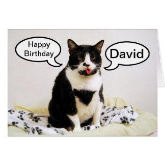 Tuxedo Cat Birthday David Humor Card