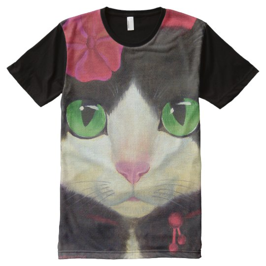 Tuxedo Cat Black All Over Printed Panel T-Shirt