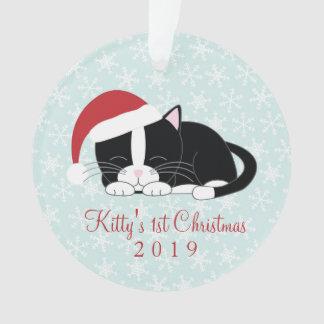 Tuxedo Cat Custom Christmas Ornament