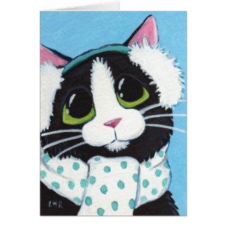 Tuxedo Cat Dressed for Winter Christmas Card
