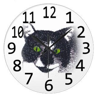 Tuxedo Cat Face Head Pointillism Wall Clocks