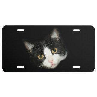 Tuxedo cat face license plate