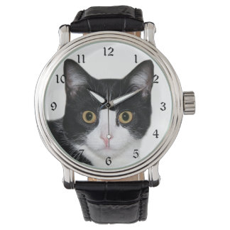 Tuxedo cat face watch