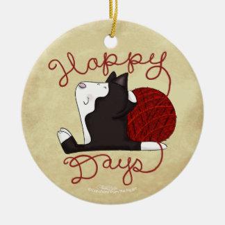 Tuxedo Cat- Happy Days Ceramic Ornament