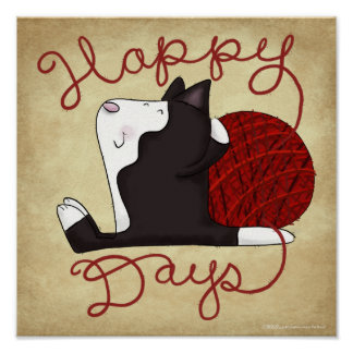 Tuxedo Cat- Happy Days Poster