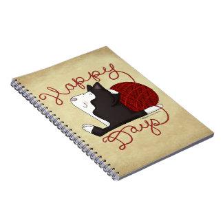 Tuxedo Cat- Happy Days Spiral Notebook
