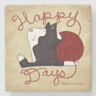 Tuxedo Cat- Happy Days Stone Coaster