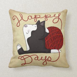 Tuxedo Cat- Happy Days Throw Pillow