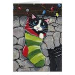 Tuxedo Cat in a Christmas Stocking Art Card