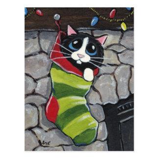 Tuxedo Cat in a Christmas Stocking Art Postcard