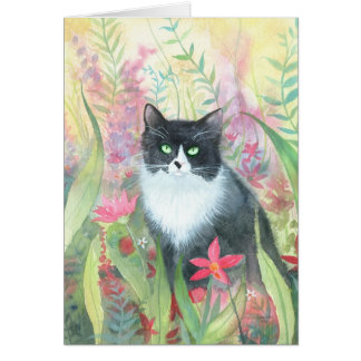 Tuxedo Cat in Garden Card