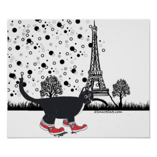 Tuxedo cat in Paris Poster