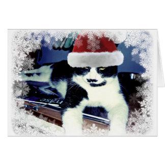 Tuxedo Cat in Santa Hat Blank Inside Card