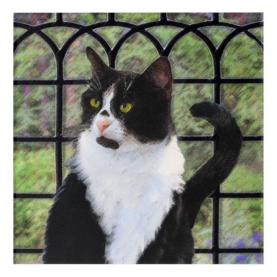 Tuxedo Cat in Window Acrylic Wall Art