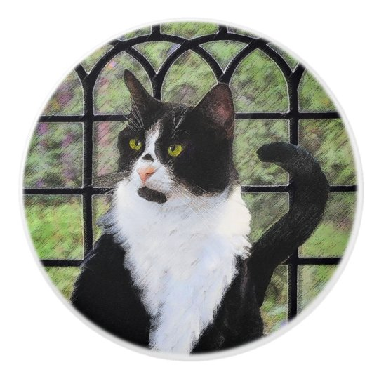Tuxedo Cat in Window Ceramic Knob