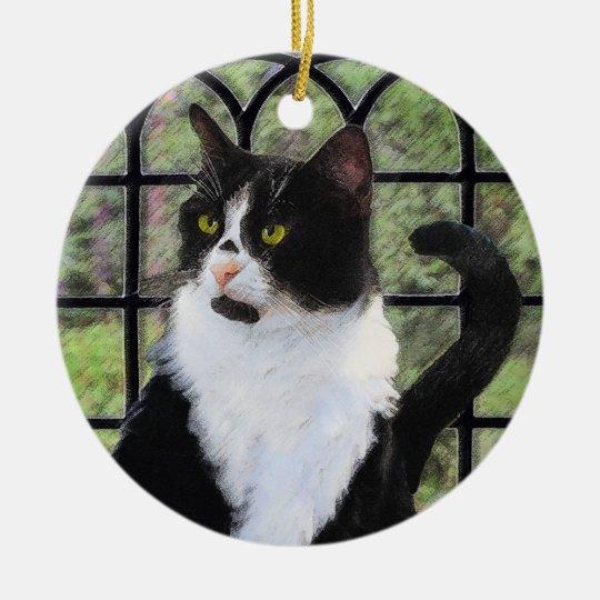 Tuxedo Cat in Window Ceramic Ornament