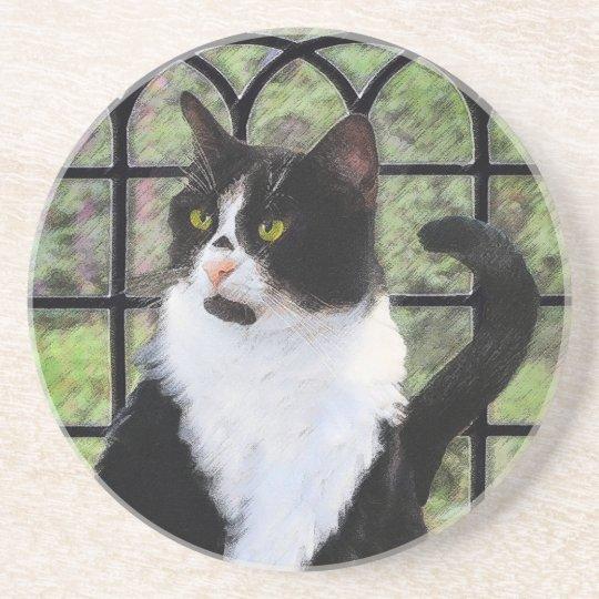 Tuxedo Cat in Window Coaster