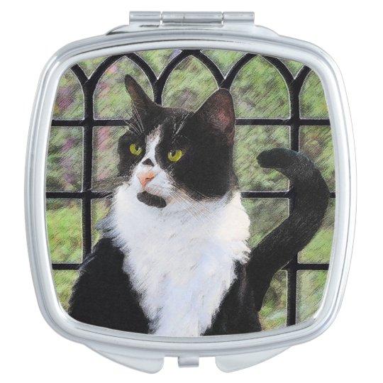 Tuxedo Cat in Window Compact Mirror