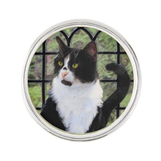 Tuxedo Cat in Window Lapel Pin