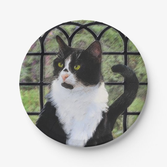 Tuxedo Cat in Window Paper Plate