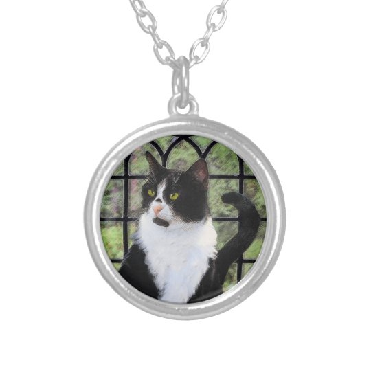 Tuxedo Cat in Window Silver Plated Necklace