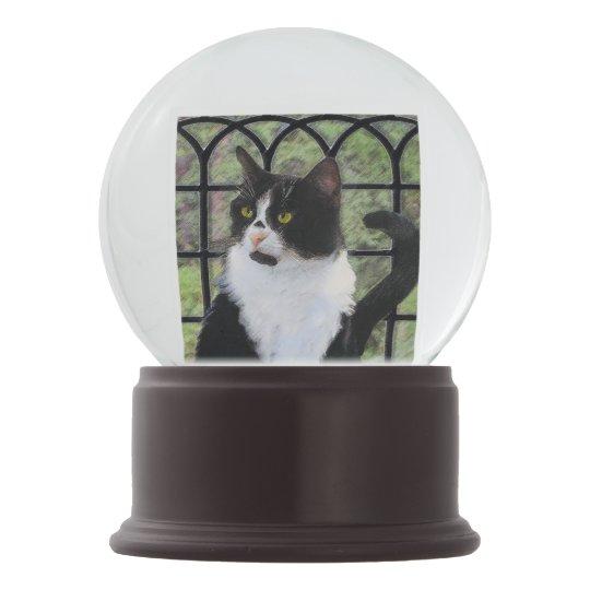 Tuxedo Cat in Window Snow Globe