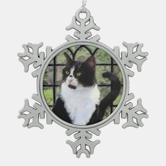 Tuxedo Cat in Window Snowflake Pewter Christmas Ornament